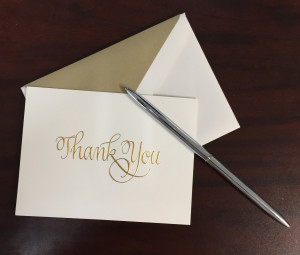 Thank You Note with Pen